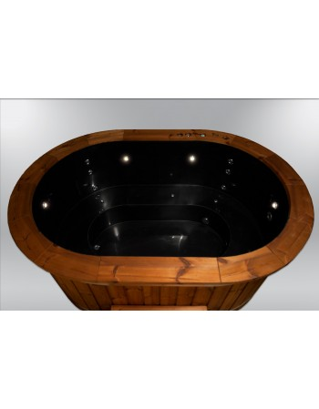 Vasca ovale Ofuro Giapponese in polipropilene e legno