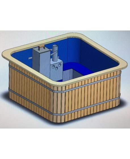 Mini piscina SPA con stufa integrata Potente 200 cm x 200 cm