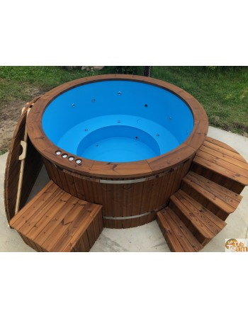Vasca idromassaggio rotonda in plastica con stufa esterna in acciaio inox