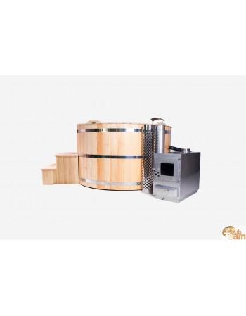 Vasca idromassaggio in legno di larice con riscaldamento esterno in acciaio inossidabile